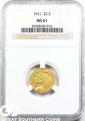 1913 NGC Quarter Eagle, $2.5 Gold Indian NGC MS 61 ** Free Shipping!