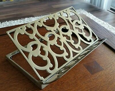 Antique Ornate Brass Missal Bible Book Music Stand Collapsible Easel Vintage