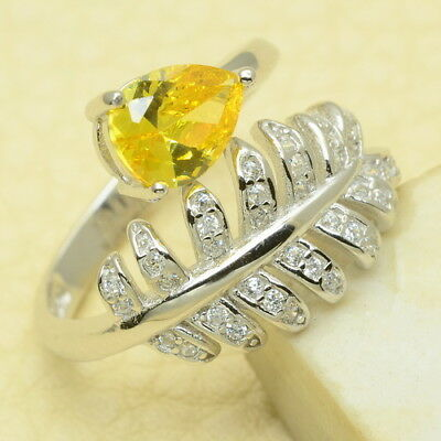 Sz Adjustable 6.75/7.25/7.75/8.25 925 Silver Yellow & White Cz Faceted Ring
