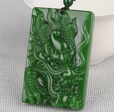 100% Natural jade Pendant Necklace engraving dragon Green jade statue Amulet