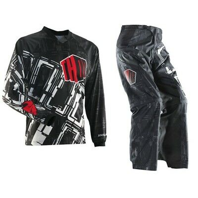 Thor over the boot motorbike MX offroad pants jersey combo mens red black 28-38