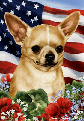 Large Indoor/Outdoor Patriotic I Flag - Shorthaired Chihuahua 16046