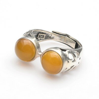 Sz Adjustable 7.5/8/8.5/9 100% Solid 925 Silver Natural Yellow Chalcedony Ring