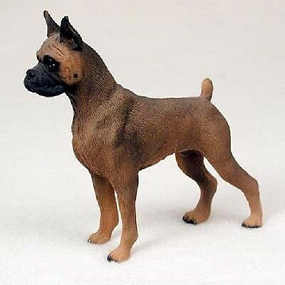 BOXER Dog HAND PAINTED FIGURINE Resin Statue COLLECTIBLE Tawny Cropped Puppy NEW