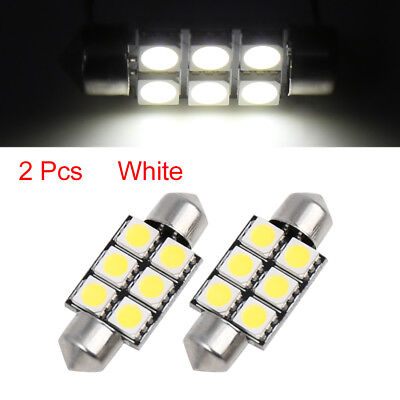 2 x Cool White 36mm 5050 SMD 6 LED 0.52W Festoon Dome Car Light Interior Bulb