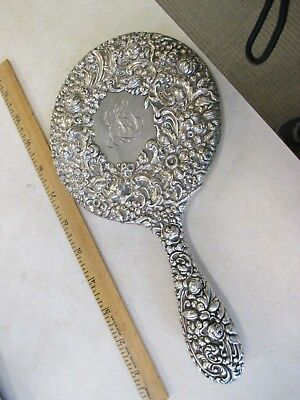 """Antique Gorham Sterling Silver Rose Repousse Hand Mirror, 9"""", 291 gr., Gorgeous"""