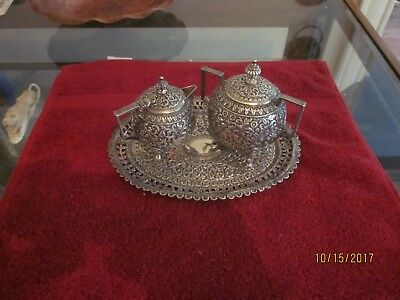 c.1880 Kashmiri Silver Sugar and Creamer w/ matching Tray, chased, animals