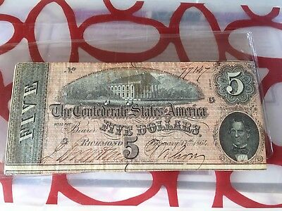 1864 $5 Dollar Bill Confederate States Currency Civil War Note Paper Money