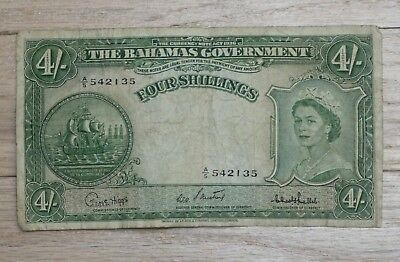 COLLECTIBLE....4 SHILLINGS NOTE from the BAHAMAS not sure of age but OLD