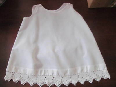 """Antique White Baby Toddler Slip Petticoat w/Crocheted Lace Trim Edging~27"""" Chest"""