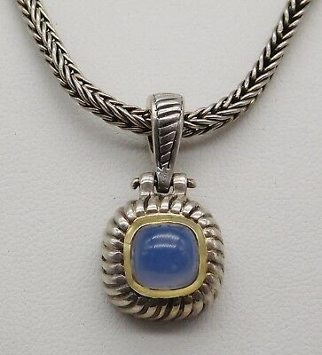 BEAUTIFUL Sterling Silver / Solid 18k Yellow Gold / Gemstone Ladies Necklace