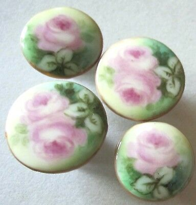 Fabulous Antique Porcelain Button Lot Great Early Sewing W/ Pink Roses