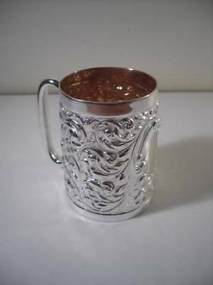 An Ornately Decorated Antique Solid Silver Mug : Birmingham 1891