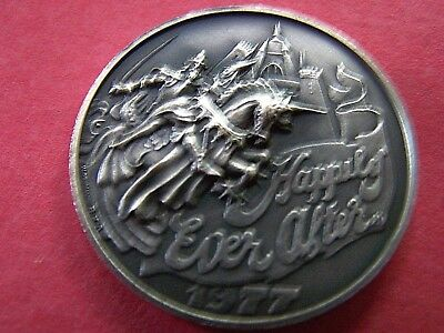 1977 Bacchus HAPPILY EVER AFTER Oxidized Silver High Relief Mardi Gras Doubloon