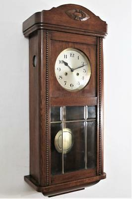EXCELLENT GERMAN ANTIQUE  OAK WALL CLOCK c1925 STRIKING  ON A TUNED GONG ROD