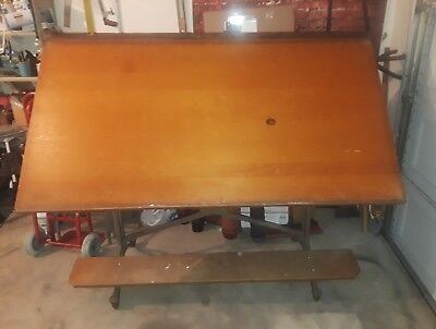 "Antique Keuffel & Esser K E ""American Eagle"" Cast Iron Drafting Table Industrial"