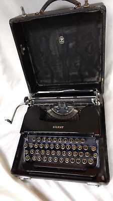 Antique L.C. Smith & Corona Silent Corona Typewriter Black Case 1930s Shift Lock