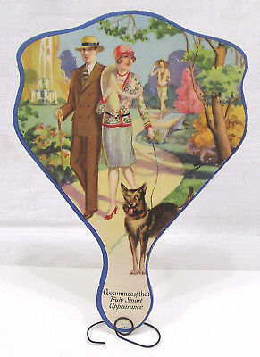 Vtg Advertising Hand Fan Gorgeous 1930s Fashions Man Woman Dog Dry Cleaners