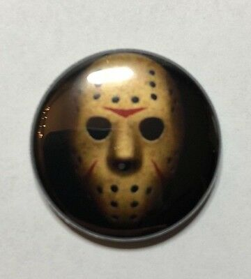 "Jason Voorhees Friday the 13th 1"" button horror movie inspired jewelry"
