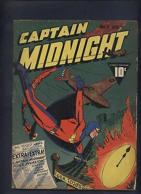 Captain Midnight 7 Fawcett Golden Age comic World war II Awesome cover 1943