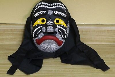 SIGNED Japanese Carved Wood Noh Kabuki Demon Mask w Satsuma Painted Raised Dots