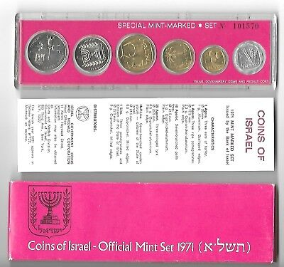 Israel 1971 Official Mint Issue Coin Set In Original Packaging