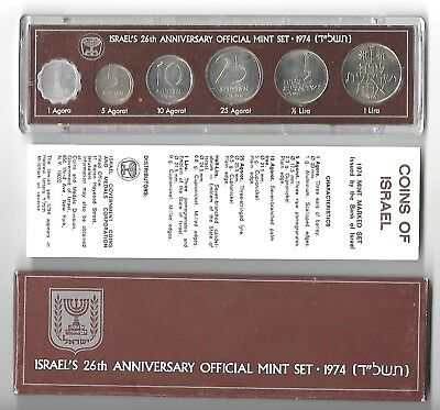 ISRAEL 1974 OFFICIAL MINT ISSUE COIN SET IN ORIGINAL PLASTIC CASE & BOX 26th ANN