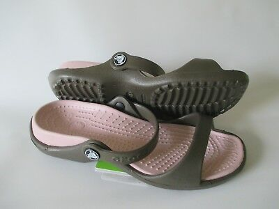 Crocs Cleo Sandals, Women's Size 6 Chocolate/Cotton Candy NWT FREE USA SHIPPING
