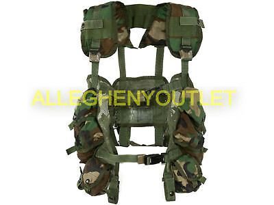 US MILITARY ENHANCED TACTICAL LOAD BEARING VEST w D-Rings LBV Woodland Camo VGC