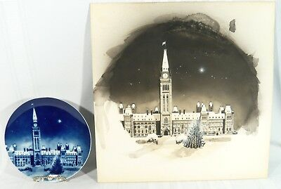 Ultra RARE 1973 Canada Ottawa Christmas Plate W/ ORIGINAL Painting James Rimmer