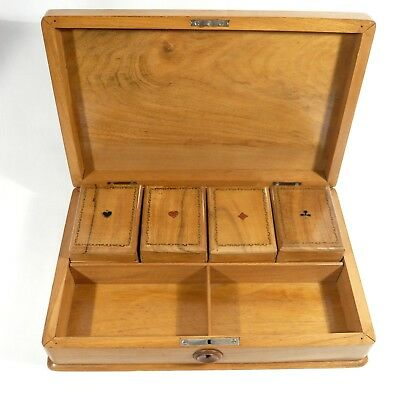 Antique PLAYING CARDS WOODEN BOX w/ Gaming / Poke CHIPS 4  Fitted Boxes