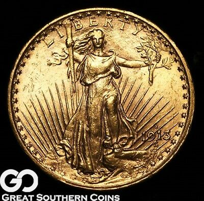 1913-S Double Eagle, $20 Gold St Guadens, Nice Lustrous Choice BU++ Better Date!