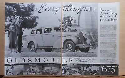 1935 two page magazine ad for Oldsmobile - Olds at Mt. Wilson Observatory CA