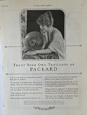 Vintage 1923 magazine ad for Packard - Crystal ball gazing with Packard