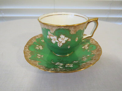 1930's Crown Staffordshire England Cup and Saucer Green - Gold Trim