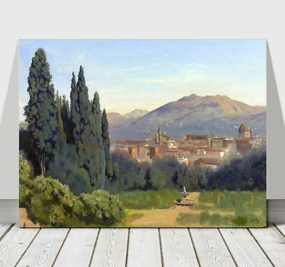 CAMILLE COROT - View of Florence - CANVAS ART PRINT POSTER - Italy - 10x8""