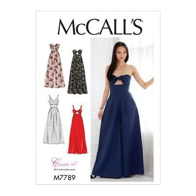 McCALL'S SEWING PATTERN MISSES' DRESSES AND JUMPSUIT M7789 SIZES 6-22
