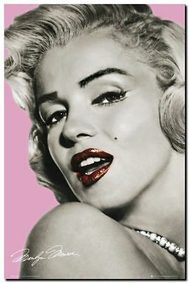 "Marilyn Monroe A4 CANVAS PRINT poster pink lips 8""X 12"""