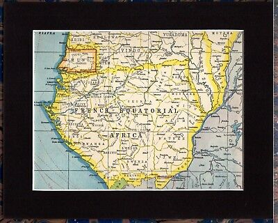 Antique MAP ~ FRENCH EQUATORIAL AFRICA ~ 1920 MOUNTED 90+ Years Old