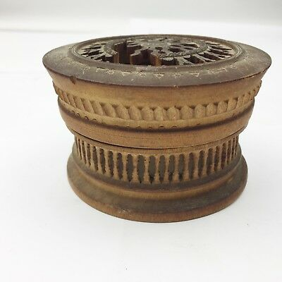 Antique Wooden Wood Treen Box Turned & Finely Pierced Lidded Cricket Cage