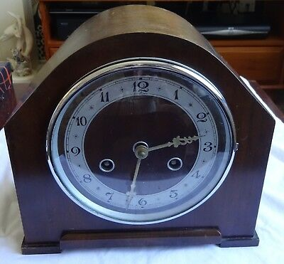 """Vintage """"Bentima"""" 8-Day Striking Mantel Clock with """"Perivale"""" Movement 1940`s"""