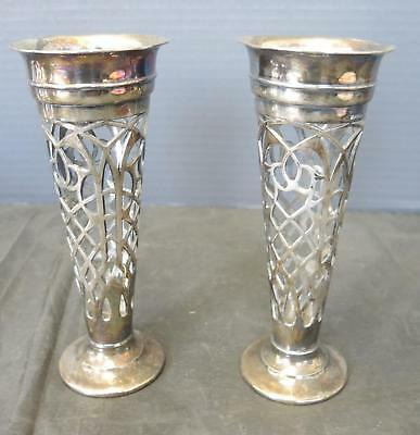 Matched Pair of Antique  Martin Hall & Co Ltd Silver Plate Vases