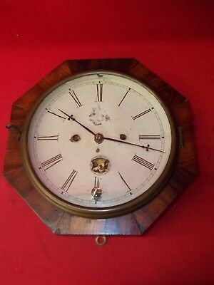 Nice Looking Old New Haven 30 Hour T/s Gallery Clock   !!