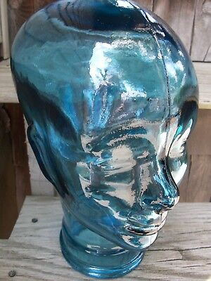 Clear Blue Glass Woman Female Head Mannequin Hat Wig Store Display Bust Art Deco