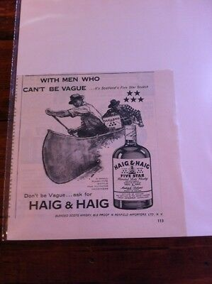 Vintage 1959 Haig & Haig Whiskey With Men Who Can't Be Vague Canoe Print Art ad