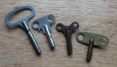 Four OLD Brass/steel CLOCK KEYS, one size 7, three sizes not marked, poss 4mm