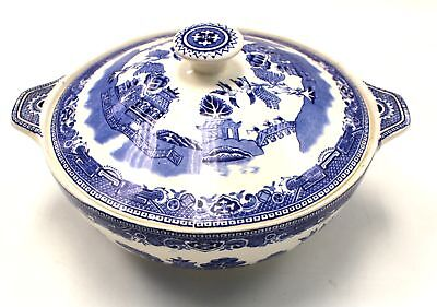 "Vintage ALFRED MEAKIN ""Old Willow"" Blue and White Tureen/ Lidded Dish - C67"