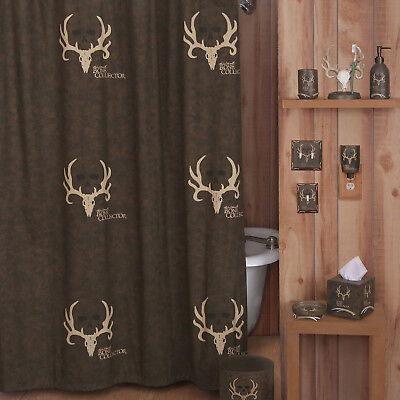 6 14 PC Bathroom Set Bone Collector Deer Skull Shower Curtain Hooks Towel