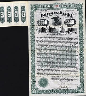 $500 Oregon - Idaho Gold Mining Co Gold Bond, 1905, + 144 Coupons