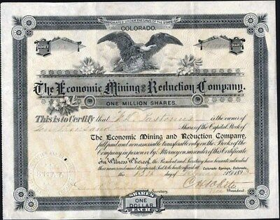Economic Mining And Reduction Co, Cripple Creek, Co, 1893, Uncancelled Stock Cft